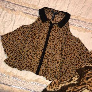 F21 Cold Shoulder Leopard Blouse